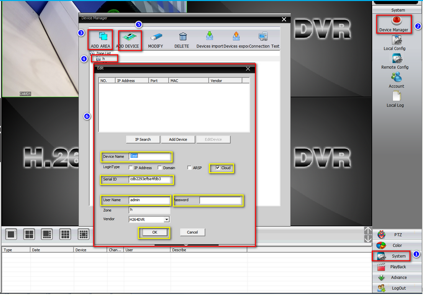 NO32  How to connect DVR/NVR on computer software CMS? - H